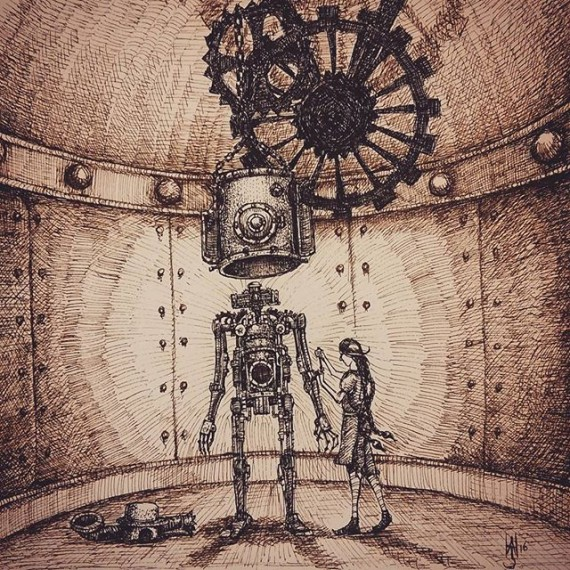 Naked Steam Automaton! Today's sketch! #automaton #cloudtoparchipelago #steampunk #sketchaday #sketch #sketchbook #penandink #rotring #rohrerandklingner #fineliner #cogs #robot #mechanic #inventor #rust