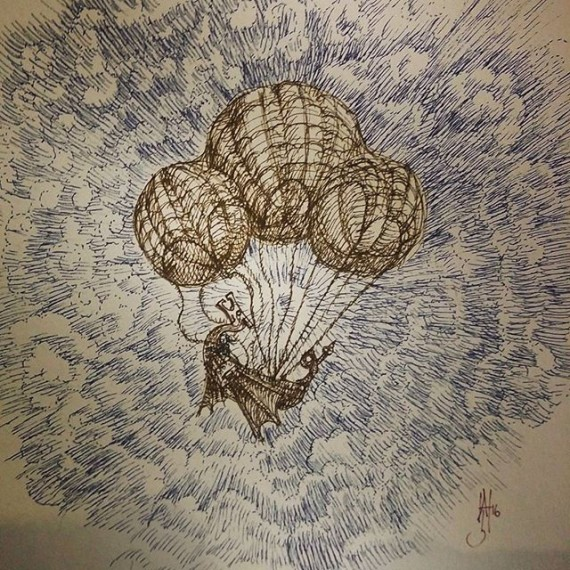Airship in trouble! Today's sketch. #sketchaday #airship #hotairballoon #rotring #sketch #steampunk #fantasyart #eyeofthestorm #rohrerandklingner #cloudtoparchipelago #sketchbook #earlyflight #laputa #illustration #finliner