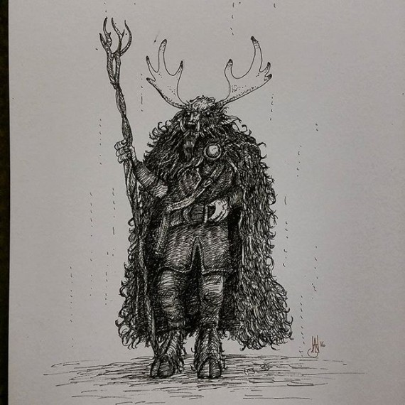 Horned is the Hunter (-AH). Today's sketch! #sketchaday #sketch #sketchbook #moleskine #herne #sabbat #fantasyart #penandink #mythology #rotring #fineliner #characterdesign
