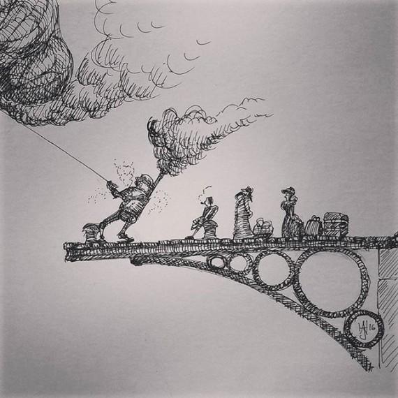 Steam Automaton Stevedore. Bonus daily sketch! #cloudtoparchipelago . #sketchaday #penandink #steampunk #fantasyart  #fantasy #rohrerandklingner #rotring #sketchbook #fineliner #sketch #automaton