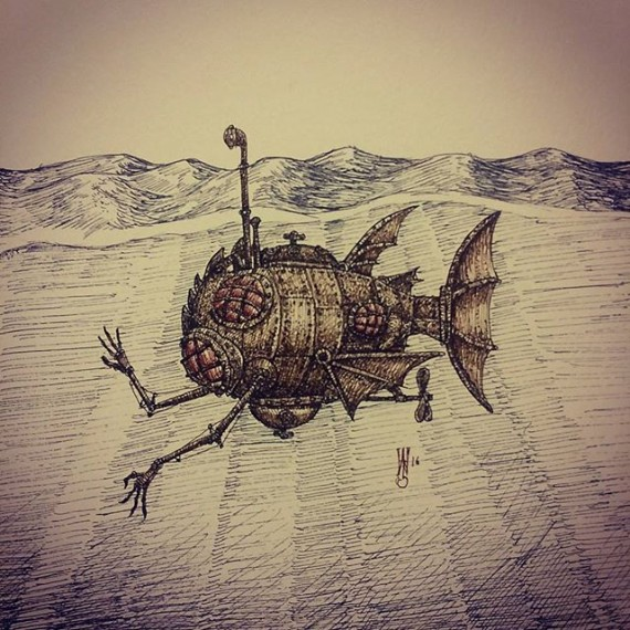 Today's sketch is a submarine! #sketchaday #sketchbook #submarine #bathysphere #penandink #illustration #steampunk #rotring #rohrerandklingner #fineliner #ocean #deepsea #dieselpunk #sketch #moleskine #julesverne