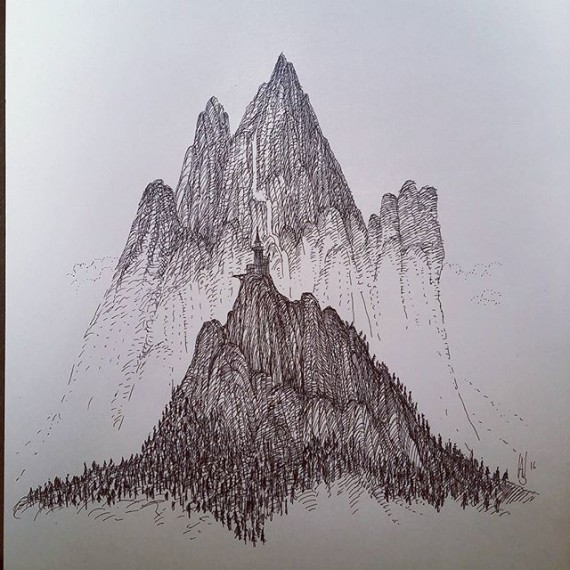 Second pen and ink attempt at misty  mountain. #cloudtoparchipelago #sketchaday #sketchbook #sketch #illustration #bookillustration #penandink #rotring #rohrerandklingner #fantasyart #steampunk #mountains