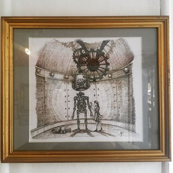 This popular original picture is currently for sale at my exhibition @corridorgallery #brighton £120 #cloudtoparchipelago #originalartwork #originalart #automaton #robot #steampunk #fantasyart #illustration #illustrations