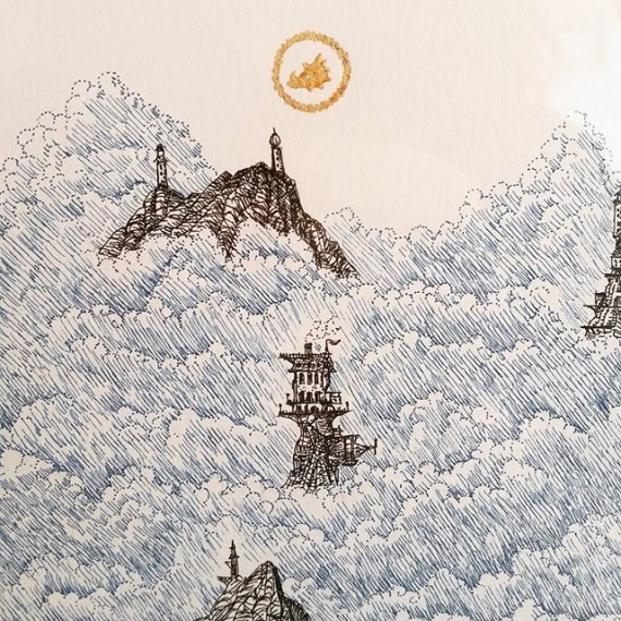 "Another detail from my large pen and ink drawing ""The Cloudtop Archipilego"" on show at @corridorgallery #brighton #cloudtoparchipelago #penandinkdrawing #penandink #rotring #brightonfringe #brightonfestival #goldleaf #gilding #fantasyart #castles #steampunk #illustration #illustrations #drawing"