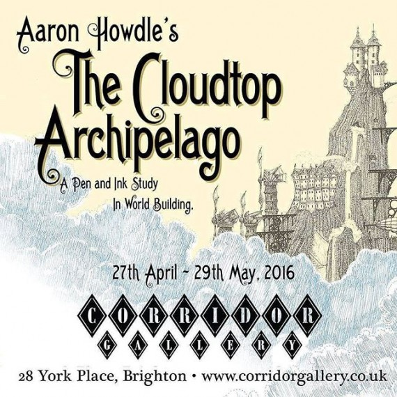 Roughly 2 weeks left to see my exhibition @corridorgallery #brighton #bookillustration #illustrator #illustration #fantasyart #brightonfestival #brightonfringe #aaronhowdle #steampunk #mountains #airship #hotairballoon #penandink #penandinkdrawing #fineliner #rotring #isograph