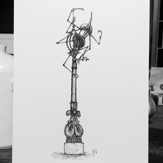 One of the triplets up a lamp post. Today's sketch! Also day one of my 7 days 7 drawings as nominated by Mark Chadwick of #electratattoo  #penandink #penandinkdrawing #rotring #isograph #cloudtoparchipelago #steampunk #fantasyart #illustration #bookillustration #sketchaday #sketch #sketchbook #automaton #robot