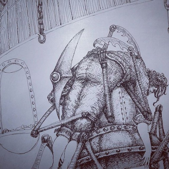 Amaryn's dad is kidnapped by one of the Triplets. Sketching for one my Cloudtop Archipelago  book illustrations. #cloudtoparchipelago #amaryn #penandink #penandinkdrawing #rotring #isograph #fantasyart #illustration #bookillustration #automaton #robot #sketchaday #sketchbook #sketch #steampunk #steampunkart
