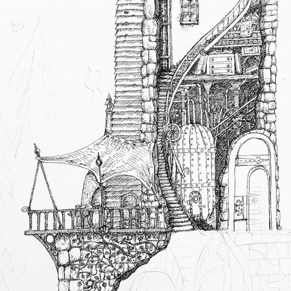 Detail from a drawing I am working on of Amaryn's home. #cutaway #cloudtoparchipelago #penandink #rotring #inkdrawing #penandinkdrawing #isograph #steampunk #steampower #fantasyart #fantasy #tower #dollshouse #workshop #shed #illustration #bookillustration