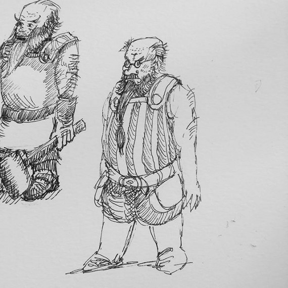 Another inky dwarf sketch.  #dwarffortress #rpg #dungeonsanddragons #denizens #inktober #inktober2016 #sketchbook #sketch #sketchaday #penandink #penandinkdrawing #rotring #fineliner