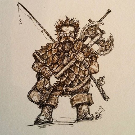 A portrait of a friend's RPG character. Small commission which I drew today. #dandd #rpg #inktober #penandink #penandinkdrawing #dwarves #dwarf #dwarffortress #fineliner #rohrerandklingner #rotring #aristo #fighter #fishingrod