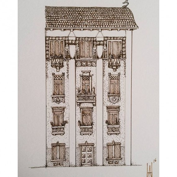 Beautiful house on Via Trebbia, Milan. #inktober #inktober2016 #penandink #rohrerandklingner #aristo #rotring #fineliner #palace #palatzo