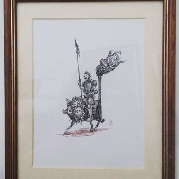 This framed original drawing (by me)  is available for £50. Comment or pm me. #steampower #steampunk #fantasyart #rotring #aristo #cavalry #knight #fineliner #originalart
