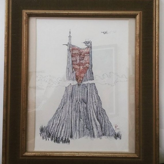Framed original pen and ink drawing by me! £60. Pm or comment. #cloudtoparchipelago #penandink #penandinkdrawing #rotring #aristo #rohrerandklingner #mountains #industrial #volcano #citadel #cityscape #steampunk #fantasyart