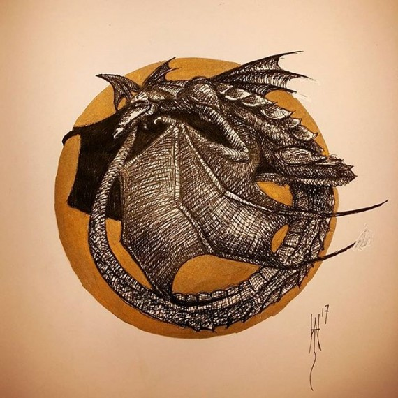 Another sleepy dragon #dragon #penandink #penandinkdrawing #fineliner #rotring #isograph #dungeonsanddragons #dandd #rpg #sketch #sketchbook #gold #sharpie #fantasyart #fantasy #lotr