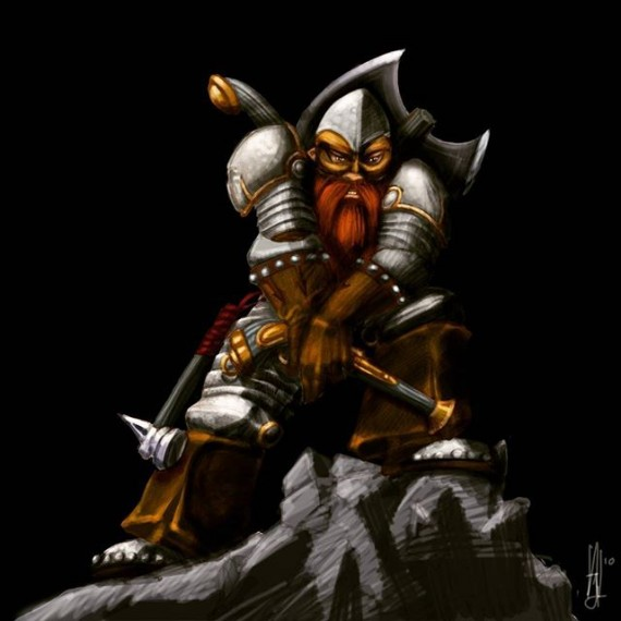 #throwbackthursday Dwarf digital painting from 2010 before I went back to pen and ink! #dwarf #dwarffortress #wow #dungeonsanddragons #fantasyart #fantasy #warhammer #illustration #photoshop #digitalpainting #axe #beard