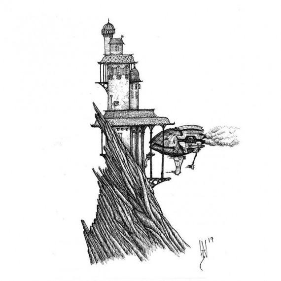 Sketchy idea for a Sci fi  version of my Cloudtop  Archipelago setting. #cloudtoparchipelago #scifi #penandink #penandinkdrawing #fineliner #rotring #sketch #sketchbook #mountains #fantasyart #scifiart #illustration #pendrawing