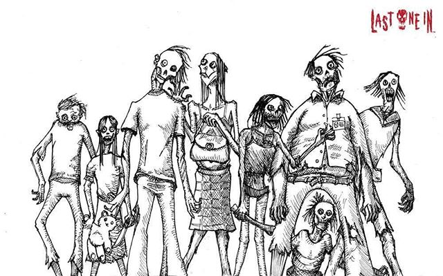 Uncoloured Drawing For A Card In At Lastoneingame A Zombie Survival