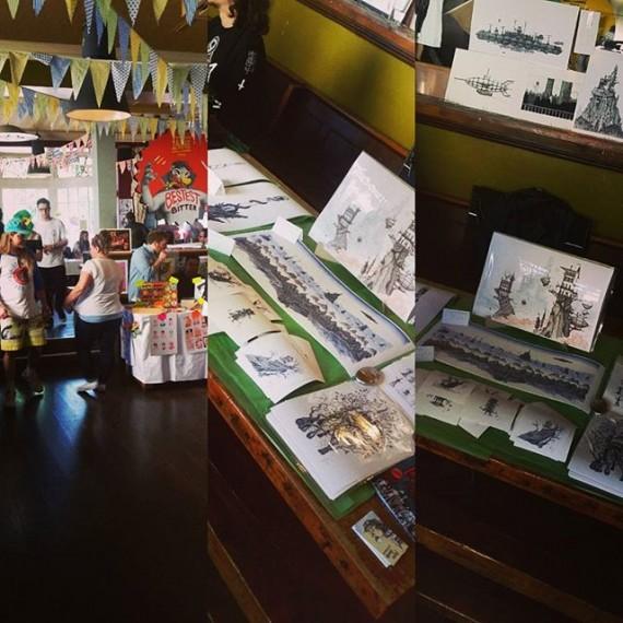 Selling my wares at @fairplaybrighton. #illustration #artfair #brightonfringe #brightonfestival #penandink #printmaking #cloudtoparchipelago #lastoneingame #fantasyart #steampunk
