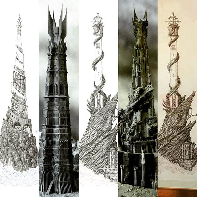 Commission Me To Draw A One Meter Tall Highly Detailed Drawing Of Brarad Dur Or Orthanc Isengard For GBP500 Each Off Original Pen