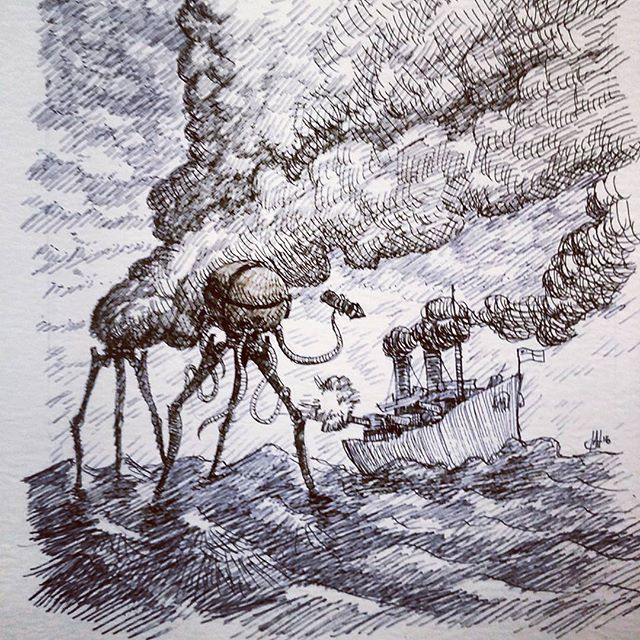 Thunderchild  sketch. #waroftheworlds #tripods #penandink #thunderchild #rotring #fineliner #rohrerandklingner #steampunk #raypunk #scifi