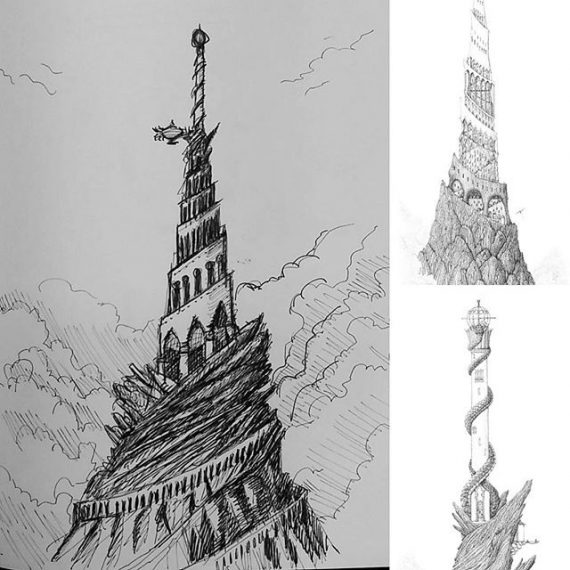 Very rough sketch idea for combining the Ziggurat of the Serpent and the Tower of the Serpent into a single structure. #cloudtoparchipelago #penandink #pendrawing #rotring #fountainpen #sketchbook #sketch #castles #tower #architecture #fantasyarchitecture #fantasyart #steampunk