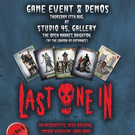 Come and try out our Zombie card game Last One In, at Studio 45 in Brighton! @studio45bn1 @lastonein_game #zombies #art #artgallery #cardgame #brightongamers #boardgames #survivalhorror #zombieapocalypse