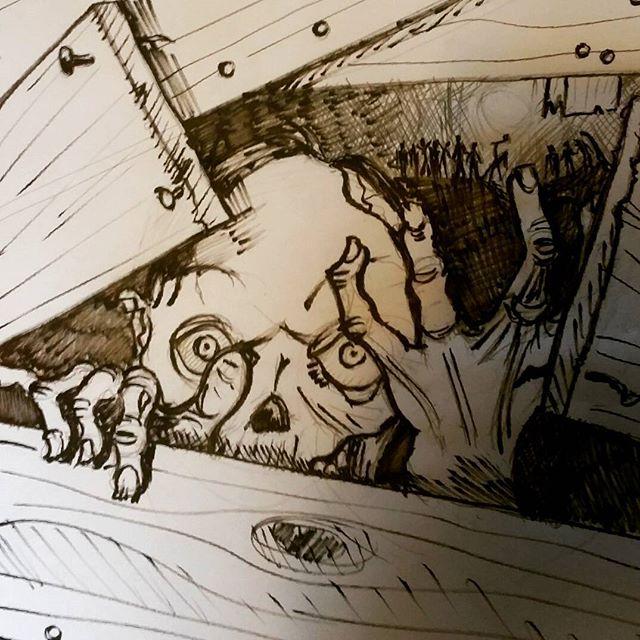 Rough sketch for @lastonein_game #zombie #zombie #zombieapocalypse #cardgame #boardgames #gameart #lastonein #penandink #sketchbook #linedrawing #horror