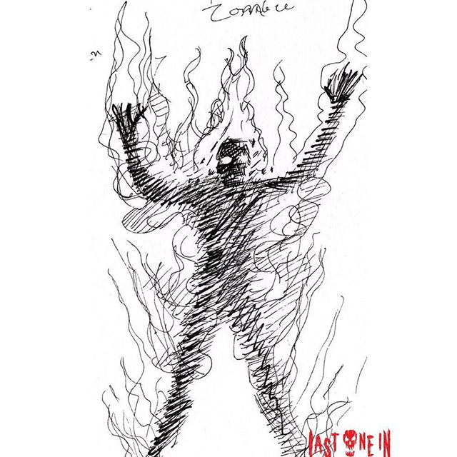Fire Zombie #sketch #drawing for @lastonein_game our zombie card game. Now live on #kickstarter! https://tinyurl.com/y7actuzt #penandink #sketch #zombies #undead #cardgame #boardgame #tabletop #gamesnight #horrorart #zombieapocalypse #survivalhorror