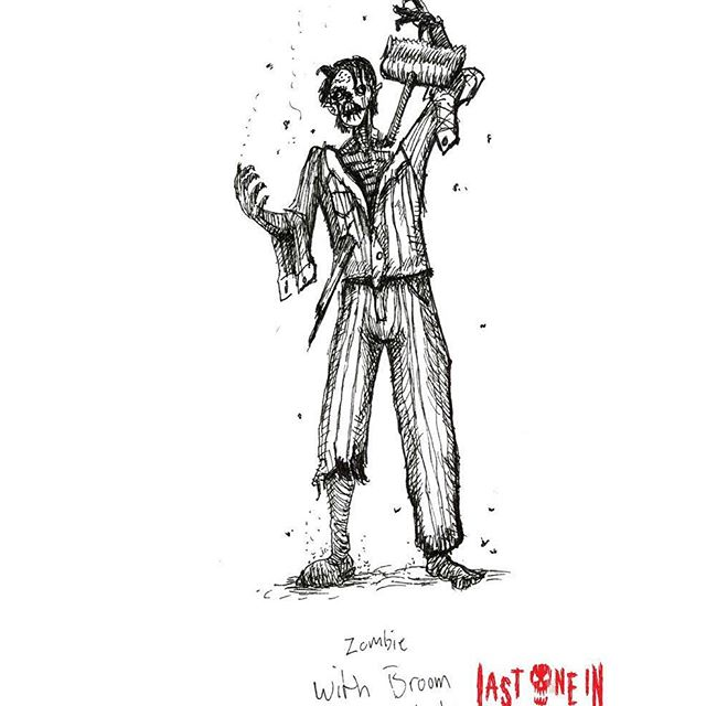 Broom Zombie #sketchbook #drawing for @lastonein_game , our zombie card game. Now live on #kickstarter! https://tinyurl.com/y7actuzt #penandink #sketch #zombies #undead #cardgame #boardgame #tabletop #gamesnight #horrorart #zombieapocalypse #survivalhorror