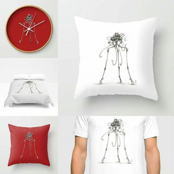 Tripod queen stuff! Buy here: https://society6.com/aaronhowdle/s?q=popular+home&page=1 #martian #hgwells #steampunk #homedecor #penandink #scifi #victorian
