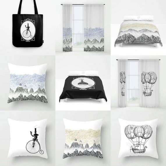 My wares on Society 6. 25% off til midnight! New mountain / clouds designs to mix with the airships. https://society6.com/s?q=popular+aaron+howdle+home #society6 #cushions #steampunk #victoriana #victorian #penandink #airships #mountains #clouds #totebag #curtains #duvetcover #pennyfarthing
