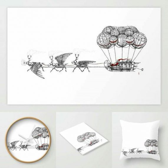Steampunk Santa stuff! Buy here: https://society6.com/aaronhowdle/s?q=popular+home&page=1 #santa #penandink #steampunk #airship #fatherchristmas #xmas #christmas