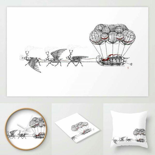Steampunk Santa stuff! Buy here: https://society6.com/aaronhowdle/s?q=popular+home&page=1 #santa #penandink #steampunk #airship #fatherchristmas #xmas #christmas