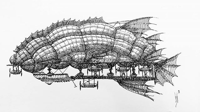My fist airship sketch for a while- drawn in fountain pen so less detailed than usual. #airships #hotairballoon #avation #steampunk #fantasyart #penandink #penandinkdrawing #sketchbook #skethaday #fountainpen #carbonink