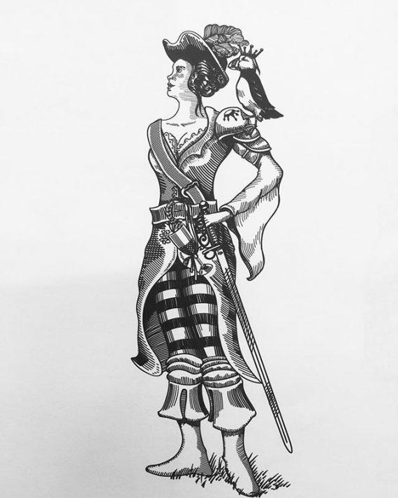 Some recent work for a pitch. #pirate #pirategirl #digitalillustration #woodcutstyle #adobeillustrator #illustration