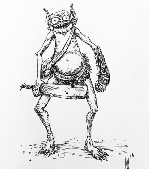 A gobliny sketch. #penandink #sketch #sketchbook #drawing #goblin #dungeonsanddragons #creatureart #rpg #fineliner #rotring #carboninkpen #fountainpen