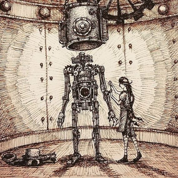 Naked automaton sketch from 2016. #automaton #robot #sciencegirl #engineergirl #tinkering #penandink #sketch #illustration #bookillustration #steampunk #fantasy #scifi #rohrerandklinger
