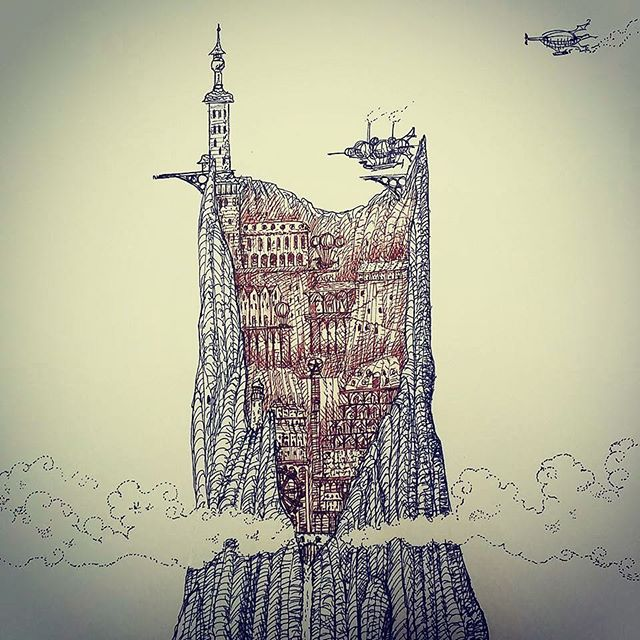 The city in the mountain. #sketch #sketchbook #penandink #rotring #rohrerandklingner #caputmortuum #clouds #mountain #airship #lighthouse #fantasyart #fineliner #steampunk #scifi #illustration