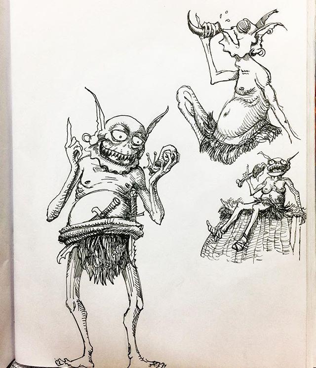 Goblin sketches! #goblin #sketch #sketchbook #penandink #fineliner #fountainpen #carbonink #fantasyart #characterdesign