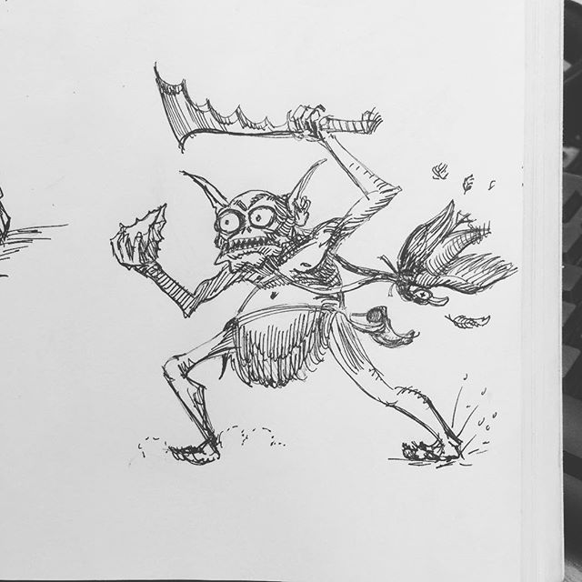 A Goblin defends his dinner! #sketchbook #sketch #fantasyart #fineliner #penandink #inkdrawing #carbonink #fountainpen #characterdesign #bookillustration #rpg #tabletop #dungeonsanddragons