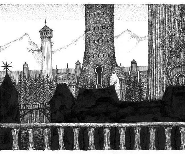 The tower of flints, drawn for a stage play of Gormenghast. #gormenghast #towerofflints #mervynpeake #fantasyart #penandink #rotring #brushandink #fineliner #fantasycity #rpg #fantasy #tabletop
