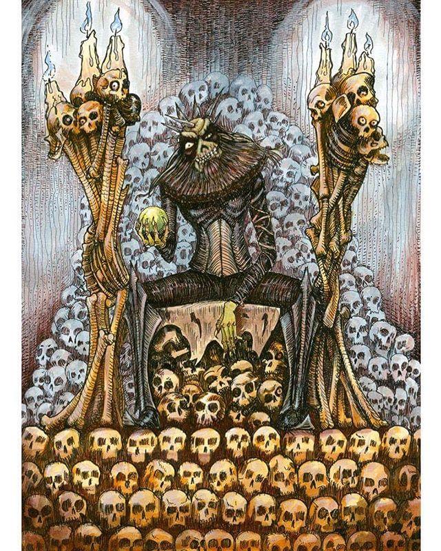 King of The Dead. Ink drawing, painted in coloured ink for @lastonein_game inkandwash #penandink #zombies #undead #fantasyart #skulls #cardgamre #boardgame #illustration #rpg #tabletop #rohrerandklingner #rotring