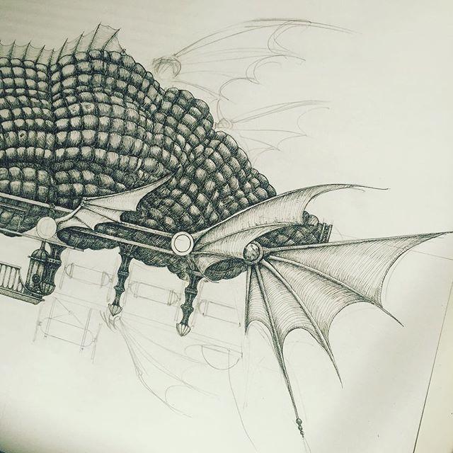 New airship drawing in progress. #penandink #airship #hotairballoon #fins #rotring #aristo #fineliner #fantasyart #illustration