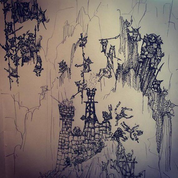 Early stages of Goblins vs Dwarves sketch. Just for fun! #sketchbook #sketch #goblins #dwarves #rotring #aristo #penandink #oldhammer #fantasyart #warhammerfantasy #rpg #blackandwhite #tabletop
