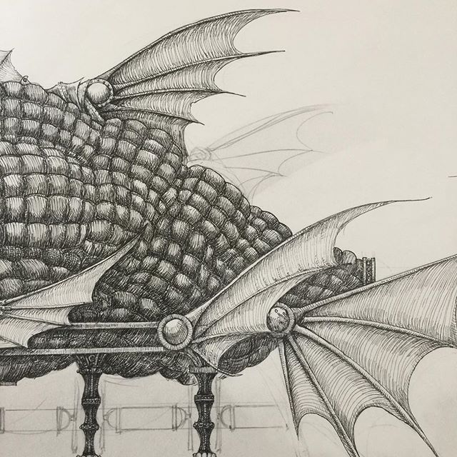 Work in progress. #penandink #rotring #airship #fins #fish #penandinkdrawing #fantasyart