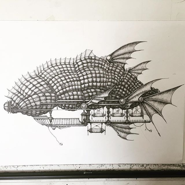 New airship drawing. #airship #rotring #penandink #hotairballoon #fins #fish #fantasyart #fineliner #penandink #illustration #grub #maggot
