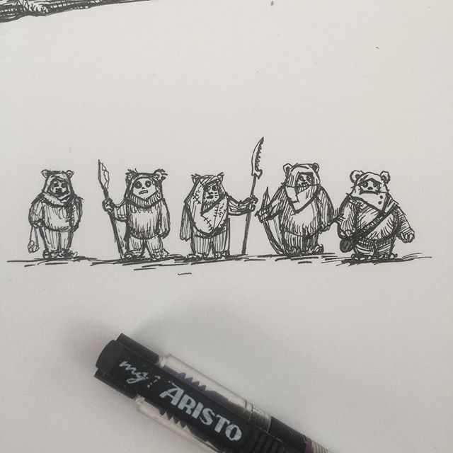 Tiny Ewok drawing tests. (They are about 10mm tall). There will be lots of them in a big piece of work for a Star Wars exhibition at @dynamitegallery Brighton. #starwars #returnofthejedi #rotj #ewoks #endor #penandink #rotring #aristo #fineliner
