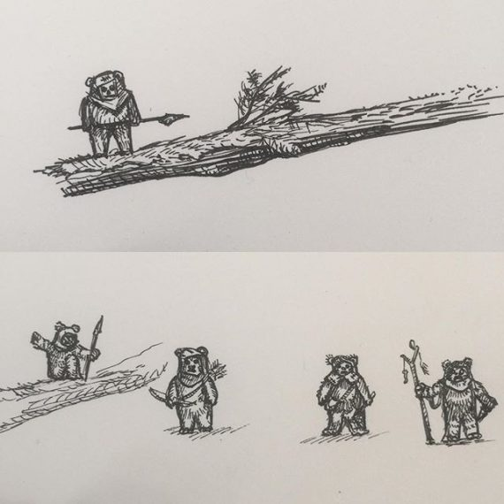 Some more tiny Ewok drawing tests. (They are about 10mm tall). There will be lots of them in a big piece of work for a Star Wars exhibition at @dynamitegallery Brighton. #starwars #returnofthejedi #rotj #ewoks #endor #penandink #rotring #aristo #fineliner