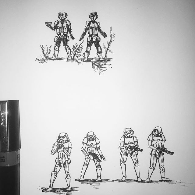 Mini Stormtrooper and Scout Trooper practice sketches for a large Star Wars picture which I'm working on for an exhibition @dynamitegallery Brighton. #stormtroopers #scouttroopers #starwars #rotj #endor #returnofthejedi #battleofendor #penandink #rotring #aristo #fineliner