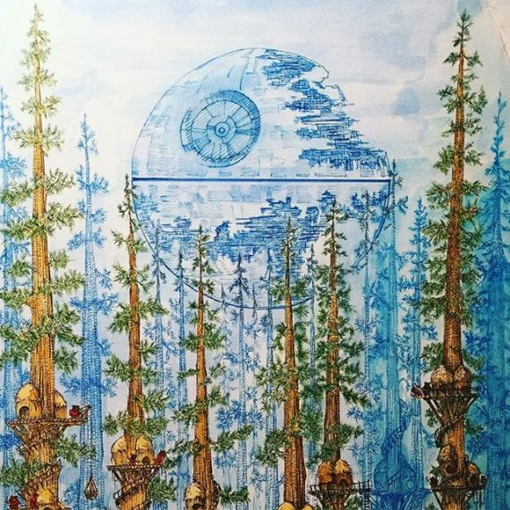 In progress detail from my Star Wars exhibition picture. @dynamitegallery #brighton #starwars #rotj #endor #ewokvillage #ewoks #returnofthejedi #penandink #rohrerandklingner #rotring #aristo #fineliner #deathstar #redwoods #secoya #inkwash